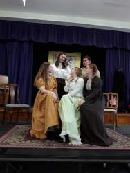 Courtesy photo &nbsp&nbsp Top row, left to right, Zoey Ericson as Marmee and Bonita Pinales as Aunt March; bottom row, left to right, Addie Wade as Meg March, Emily Price as Jo March and Catie Price as Beth March perform this weekend in the Encinal High School production of Little Women.