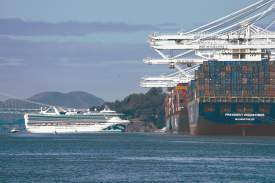 Maurice Ramirez &nbsp&nbsp The Grand Princess cruise liner containing 21 passengers and crew infected with coronavirus docked at the Port of Oakland's north side Monday.