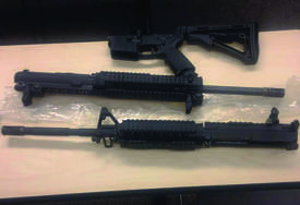 Alameda Police Department &nbsp&nbsp  Police officers recently collected a weapon cache including these assault rifles and the magazines below at a residence on the 700 block of Central Avenue.