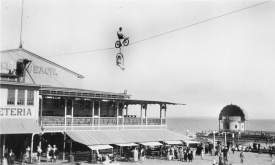 "Courtesy Chuck Millar  During 1920s and '30s, the ""Aerial Thompsons,"" — known as ""The Kings of the Air"" and billed in the newspapers as ""a pair of vaudeville artists and headliners"" — thrilled crowds at Neptune Beach by performing stunts on a wire 175 feet in the air."