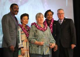 Ilana DeBara  After her induction into Alameda County's Women's Hall of Fame, Alamedan Leora Feeney, center, stands with, from left to right: Alameda County Supervisor Keith Carson; County Administrator Susan Muranishi; Dr. Stacy Thompson, chair of the county Commission on the Status of Women; and Scott Haggarty, president of the Alameda County Board of Supervisors.