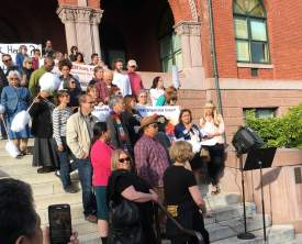 Courtesy photo  Members of the Alameda Renters Coalition gathered at city hall last Tuesday before the Council Meeting.