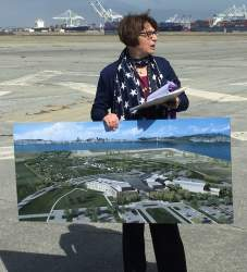 Richard Bangert   Department of Veterans Affairs representative Laura Kelly spoke about the VA's future medical facility and columbarium at Alameda during the April 2 Doolittle tour at Alameda Point.