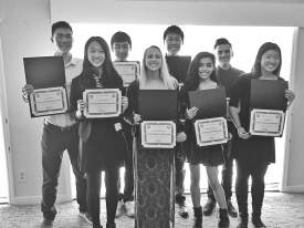 Courtesy photograph &nbsp&nbsp&nbsp&nbsp  Rotary Scholarship winners take time for the camera. Pictured in the front row from left to right are Cammie Young, Madelyn LaFollette, Stephanie Sanchez and Corine Tan. In the back row from left to right are Junlin Chen, Jason Chen, Terry Chau and Harris Terovic