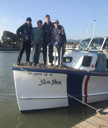 Courtesy photo &nbsp&nbsp Alameda Sea Scouts, left to right: Kenny Kirwin, 18; Mason Ensley, 16; Cole Harris, 18; and Johnny Amaden, 13 rescued a kayaker in distress from the frigid waters of San Francisco Bay.