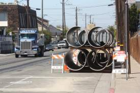 Dennis Evanosky  EBMUD pipes along Clement Avenue are part of a project to replace the Alameda Interceptor Pipe that manages the city's wastewater.