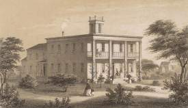 Charles Kuchel & Emil Dresel, Lithographers &nbsp&nbsp In 1855, the Methodist church built this school in the Federalist style complete with a portico and a cupola. The two-story building that stood on College Avenue housed a dormitory and classrooms.