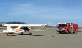 Alameda Fire Department &nbsp&nbsp Members of the Alameda Fire Department responded to the report of a single-engine aircraft landing at Alameda Point.