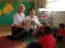 Alameda residents Elaine Farge (left) and Marlene Getz took the Alameda Sun with them to Cambodia and Vietnam recently to participate in a multi-faceted mission trip planned by a non-profit called Cambodian Child's Dream Organization (www.cambodianchildsdream.org).