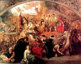 """Courtesy wikipedia.org Sir John Gilbert's 1849 painting """"The Plays of Shakespeare"""" contains scenes and characters from several of William Shakespeare's plays."""