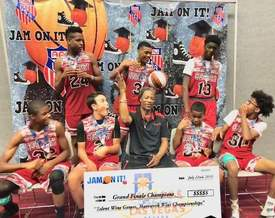 Courtesy Photo &nbsp&nbsp Clutch City AAU hoops team celebrate winning the 16-and-under basketball tournament at the Jam On It tournament Sunday, July 22.