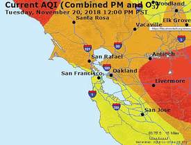 Courtesy airnow.gov &nbsp&nbsp The Environmental Protection Agency provides air quality maps updated in real time for every zip code in the United States on its website, airnow.gov. Late last week officials were saying the air quality in the Bay Area was the worst in the world. Maps of the Bay Area returned from the site Monday showed nearly all of the Bay Area under red, unhealthy conditions. As of noon Tuesday, conditions had improved.