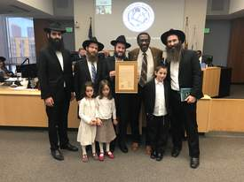 Courtesy Chabad of Alameda &nbsp&nbsp Left to right: Rabbi Yosef Romano, director of the Jewish Learning Institute of Berkeley; Rabbi Meir Shmotkin, director, Chabad of Alameda; Rabbi Shimon Grusman, director, Chabad of Castro Valley; Nate Miley, Alameda County Supervisor District 4 and Rabbi Gil Leeds, director, Chabad Jewish Center of UC Berkeley.