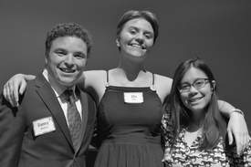 Courtesy photo &nbsp&nbsp Local seniors (left to right) Danny Charney, Ella Burk and Kaitlin Alcontin pose for a quick portrait while at the 29th eQuality Scholarship Awards Dinner.