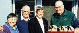 Courtesy photo &nbsp&nbsp Above, left to right: Martha Killebrew, Hugh Tebault, Anne Diament and Dr. Alan Mitchell were among the founding members of Alameda Meals on Wheels in 1973. The public can help further their efforts this Saturday.