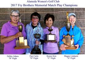 Courtesy photo &nbsp &nbsp &nbsp &nbsp &nbsp Left to right, the winners of the Fry Brothers Tournament: Debbie Adams, Flight B; Pam Curtis, Flight D; Bonnie Kim, Flight C and Maggie Lindquist Flight A.