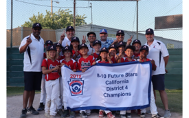 Courtesy Photo &nbsp&nbsp Top: The Alameda 8-10 Future Stars squad celebrate after winning the California District 4 8-10 Championship on July 2. Bottom: The nine-player Alameda Intermediate 50/70 boys' team came up short in the championship match, losing 3-2 to East County on June 26.