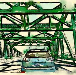 "Bonnie Randal Boller  ""Stuck in Traffic"" will be one of the works on display as the Frank Bette Center celebrates Alameda's Park Street Bridge in a new exhibition."