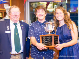 Rachel Browne &nbsp&nbsp PICYA Commodore Winston Bumpus, Sean Tolan and Sophia Browne celebrate Tolan and Browne's sailing victory.