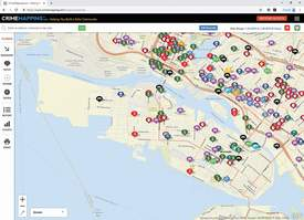 Screen capture alamedaca.gov &nbsp&nbsp The city's new website includes a portal to a crime mapping tool that visually displays recent police reports.