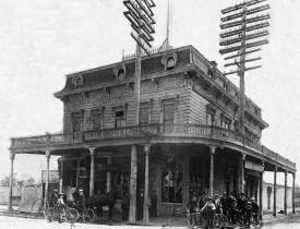 Editor's collection &nbsp&nbsp This 1903 photo of the Croll's building shows damage sustained in an early-morning train accident when a locomotive exploded right in front of the building. A local bicycle club had also gathered. Telegraph poles were incorporated into the building's balcony overlooking the Bay.