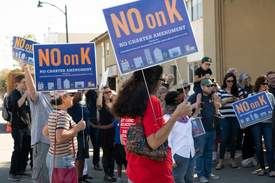 Courtesy photo &nbsp&nbsp A group of about 60 protesters rallied Saturday to draw attention to a ballot  measure they say will limit the city's ability to provide effective rent control.