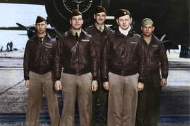 """U.S. Air Force photo colorized by Lori Lang &nbsp&nbsp Artist Lori Lang has colorized hundreds of military photos from the U.S. and all over the world, including this image of the Doolittle Raid's Crew No. 2: Lt. Travis Hoover, pilot; Lt. William N. Fitzhugh, copilot; Lt. Carl R. Wildner, navigator; Lt. Richard E. Miller, bombardier; and Sgt. Douglas V. Radney, flight engineer/gunner. Lang manages a Facebook page for enthusiasts called """"Our Colorful History."""""""