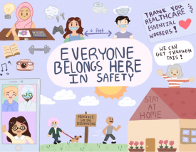 The winning poster in the Everyone Belongs Here Poetry and Poster Contest (above)was designed by Britney Chau, a ninth grader at Encinal High School