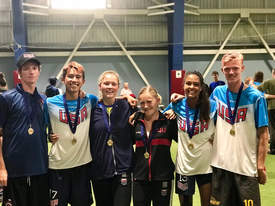 Andrew Carothers-Liske &nbsp&nbsp Members of the U.S. National Under-20 teams show off their gold medals after winning the World Junior Ultimate Championships. From left to right: Jake Thorne, Leo Gordon, Lauren Carothers-Liske, Jenna Krugler, Robin Anthony-Petersen and Dylan Villeneuve.