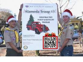 Gala Basco &nbsp&nbsp Nathaniel Basco and Tanner Mackenzie on Christmas Tree Lane where Troop 11 made Christmas Tree Pick Up available to the many visitors this holiday season.