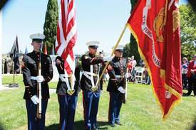 Mike Lano &nbsp&nbsp The Encinal High School Junior Reserve Officers' Training Corps served as the color guard for Monday's Memorial Day ceremony at Veterans Park.