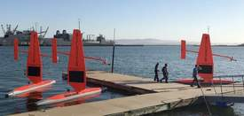 Courtesy NOAA &nbsp&nbsp&nbsp A fleet of Alameda Point-built saildrones was recently prepared to go into service for the National Oceanic and Atmospheric Administration.