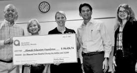 Courtesy photo &nbsp&nbsp&nbsp  Left to right; AEF board members Bill Sonneman, Margie Sherratt, Tracy Zollinger, Daniel Chin received a donation from Public Utilities Board President Ann McCormick on July 17.