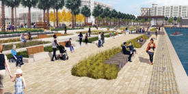 Courtesy photo  Plans for Seaplane Lagoon include a waterfront promenade like that shown in this artist's rendering.