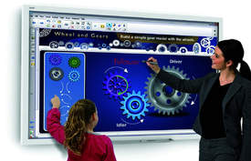"Courtesy photo &nbsp&nbsp The interactive flat board or ""smart"" board allows students and teachers to not only write on the ""blackboard"" but also interact with it, sync it with various electronic devices and share it with the classroom."