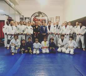 Courtesy photos. Participants in a seminar at Sergio Silva's jiu-jitsu studio on Park Street gathered to discuss and practice their approach to martial arts last week.