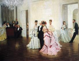 """Courtesy Royal Academy &nbsp&nbsp The 1873 oil painting """"Too Early,"""" considered one of James Tissot's masterworks, captures that awkward moment when guests realize they've arrived before the appointed time. Tissot's work will be discussed coming up at Alameda Library."""
