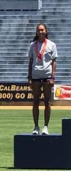 Don Porteous &nbsp&nbsp&nbsp&nbsp Kendall O'Farrell receiving second place medal for women's high jump