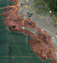 "City of Alameda &nbsp&nbsp The City of Alameda recently released this ""Maximum Phase Tsunami Evacuation Zone"" map. Residents who live in the areas covered in red are expected to evacuate in the event of a tsunami having maximum impact."