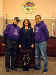 Courtesy Photo &nbsp&nbsp Victor Backer, left, join Mayor Trish Spencer and Glen Wong in inviting Alamedans to this year's Valor Games on Coast Guard Island. Festivities begin next Wednesday with a reception at Alameda Point.