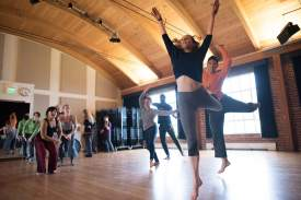 Courtesy photo  Dancers rehearse for Island City Waterways, a free public art project choreographed by Kim Epifano, inside the theater at Rhythmix Cultural Works. Performances take place May 20 to 22 at four stops along the Waterfront Trail.